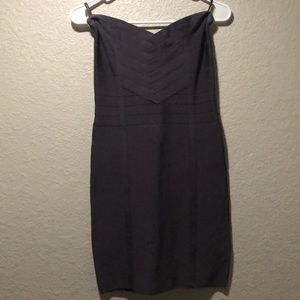 Bebe banded purple strapless dress